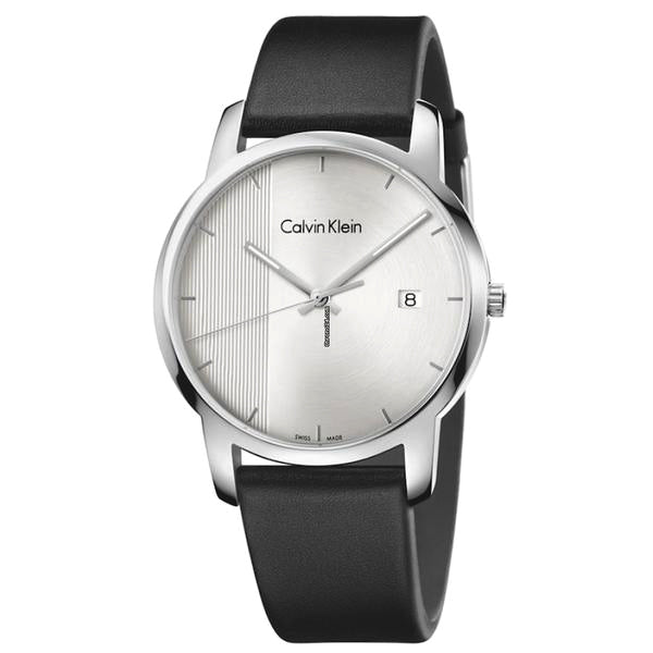 City Black Leather Silver Dial Men's Watch