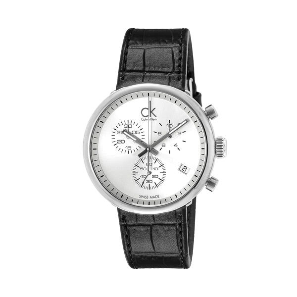 Substantial Chronograph White Dial Black Leather Men's Watch