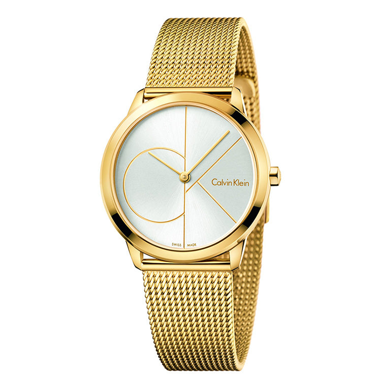 Minimal 35mm Silver Dial Gold-Tone Stainless Steel Unisex Watch
