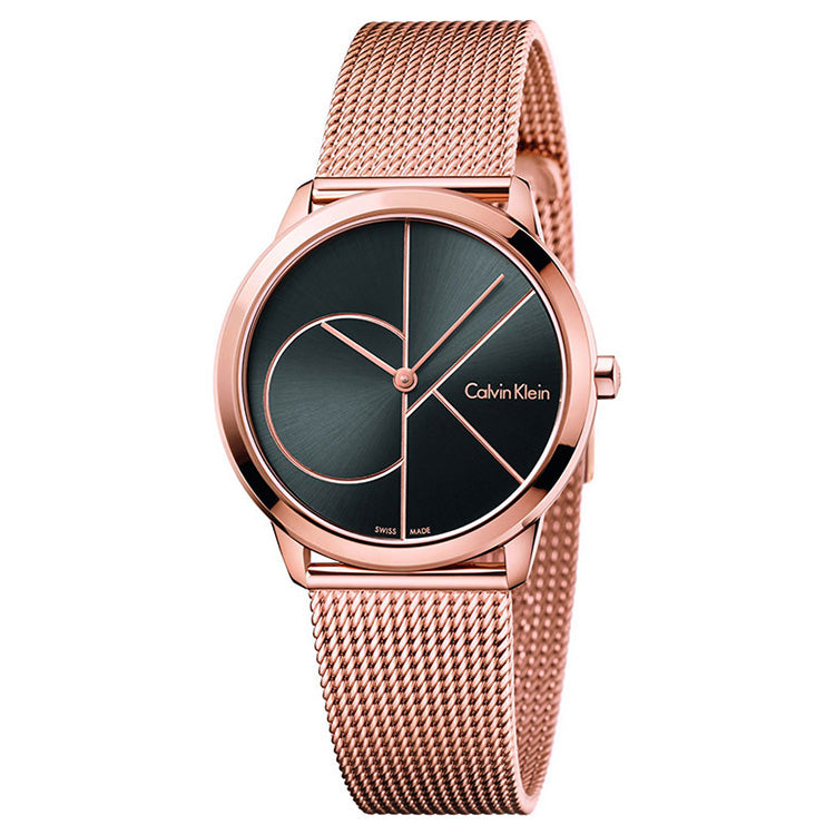 Minimal 35mm Black Dial Rose Gold-Tone Stainless Steel Unisex Watch