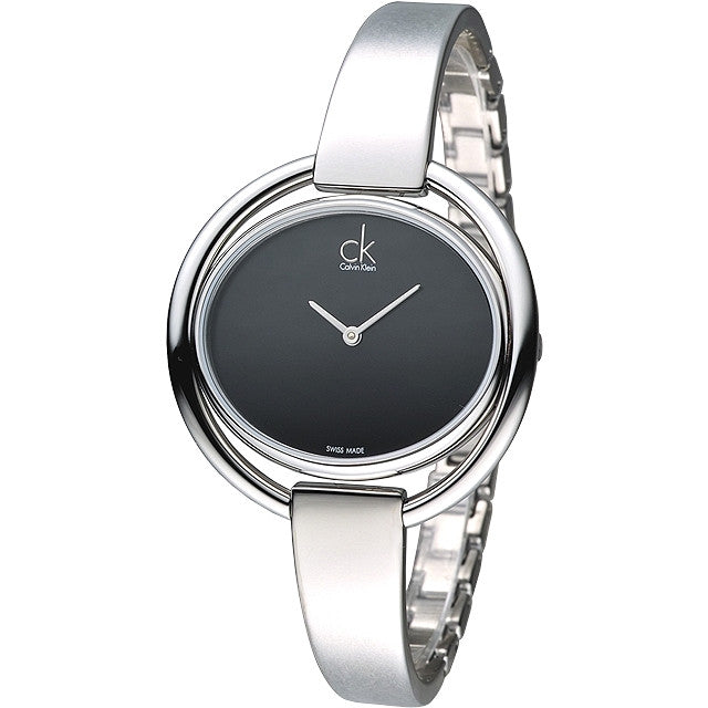 Impetuous Silver Stainless Steel Black Dial Ladies Watch