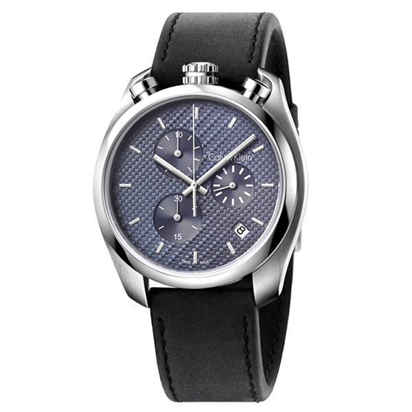 Control Black Leather Chronograph Men's Watch