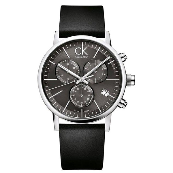 Post Minimal Chronograph Black Leather Men's Watch