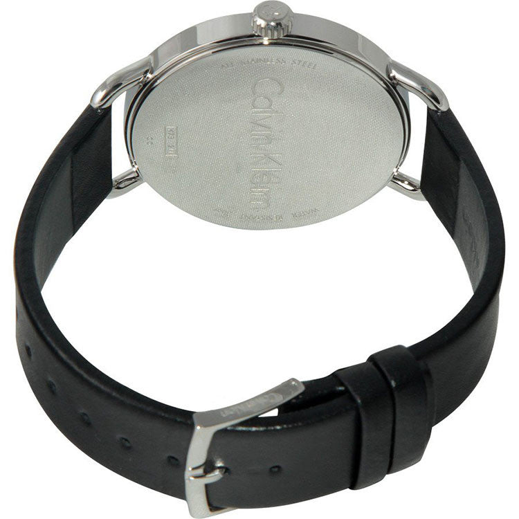 Even Black Leather Strap Black Dial Womens Watch