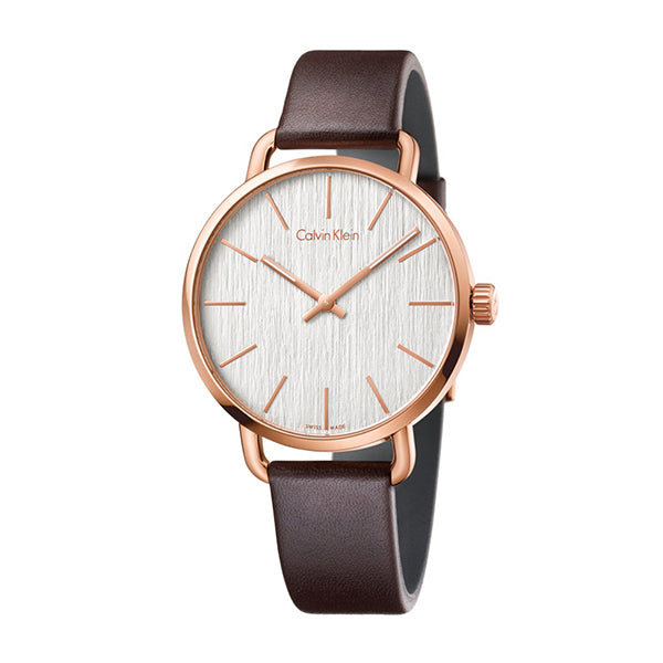 Even Brown Leather Strap Silver Dial Mens' Watch
