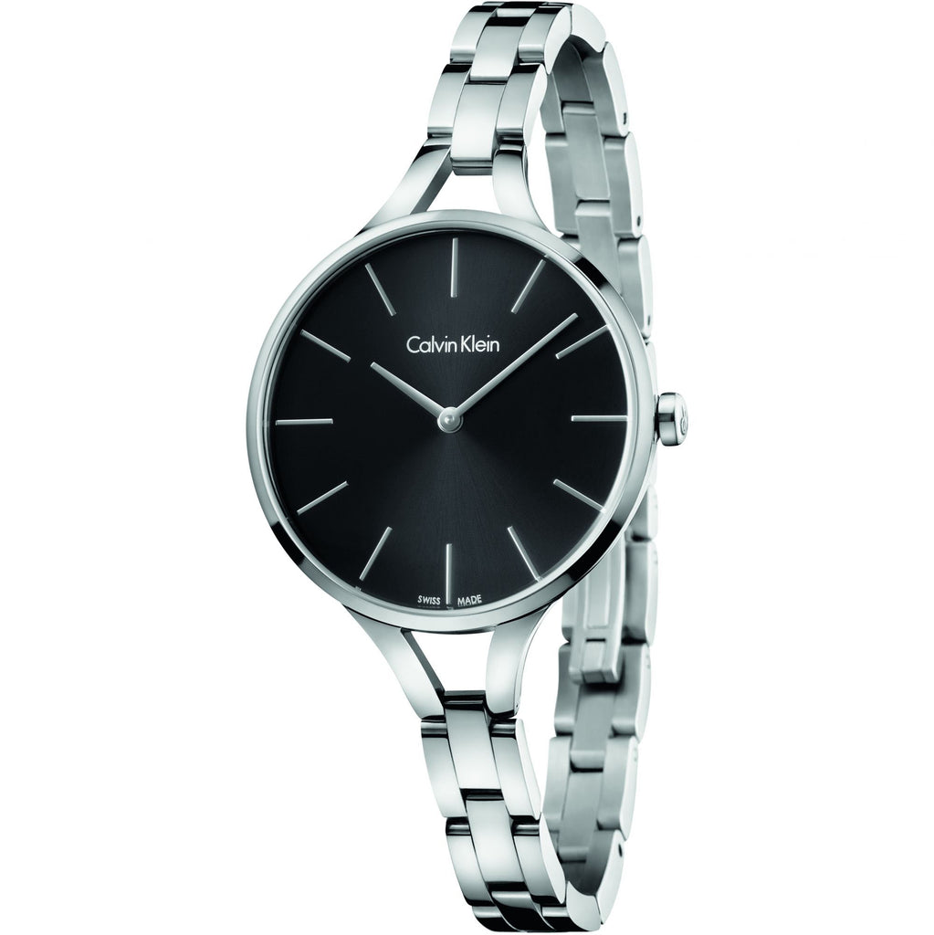 Graphic Stainless Steel Black Dial Ladies' Watch