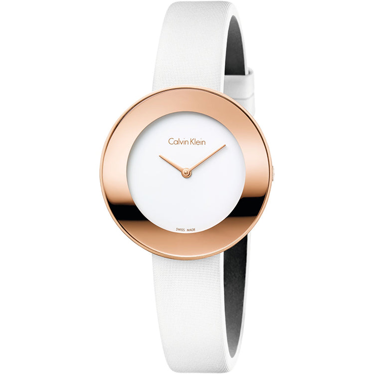 Chic White Dial White Leather Strap Rose Gold Case Ladies' Watch