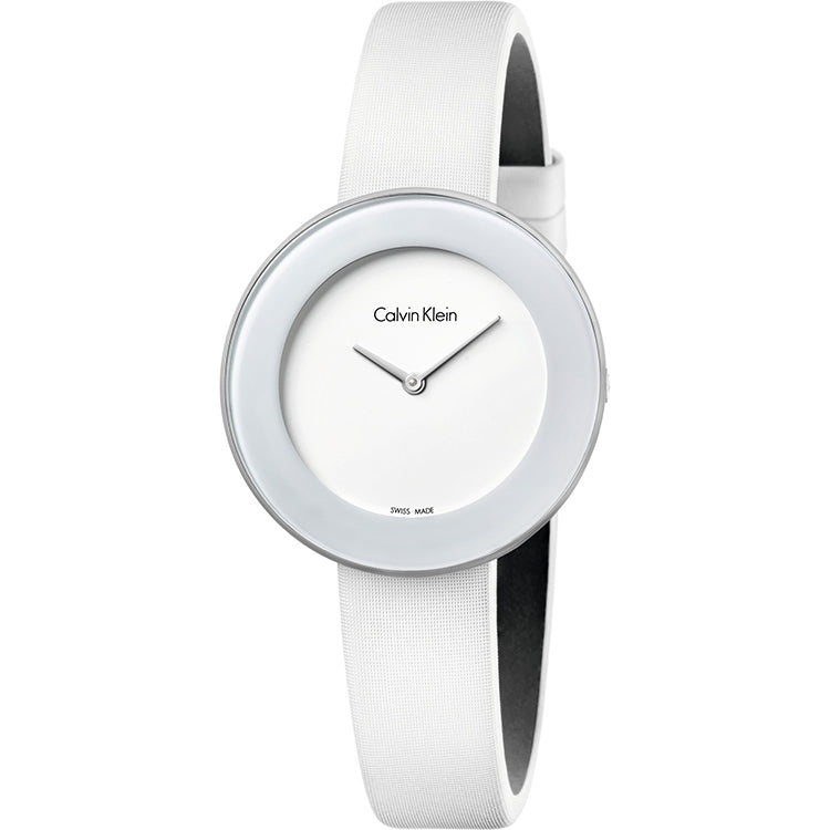 Chic White Dial White Leather Strap Ladies' Watch