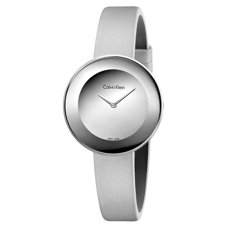 Chic Silver Dial Grey Leather Strap Ladies' Watch