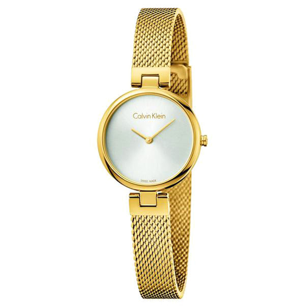 White Dial Gold-Tone Stainless Steel Strap Ladies' Watch