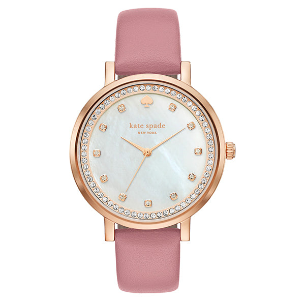 New York Mother Of Pearl Dial Rose Gold Case Ladies Pink Leather Watch