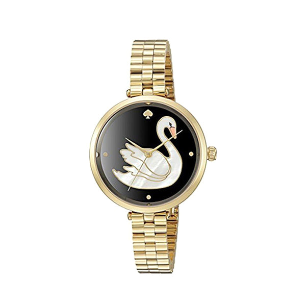 Holland Gold-Trimmed White Swan Across Black Dial Ladies Watch