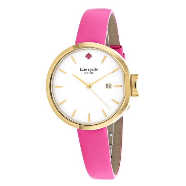 New York Mother Of Pearl Dial Ladies Pink Leather Watch