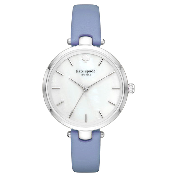 New York Mother Of Pearl Dial Ladies Blue Leather Watch