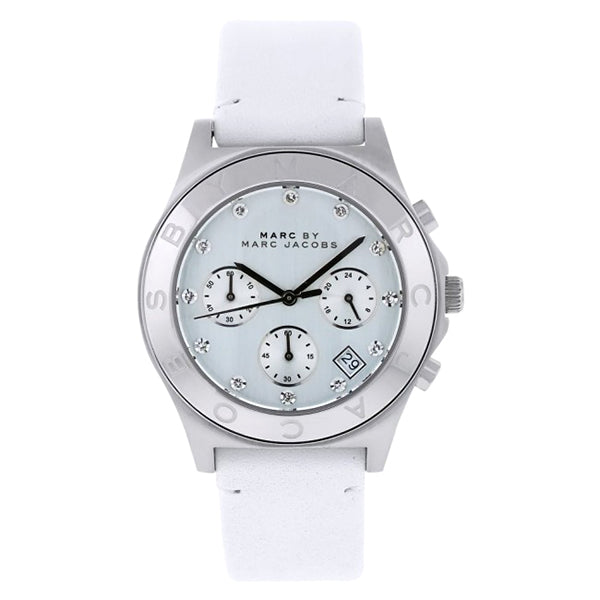 Blade White Leather Chronograph Ladies' Watch