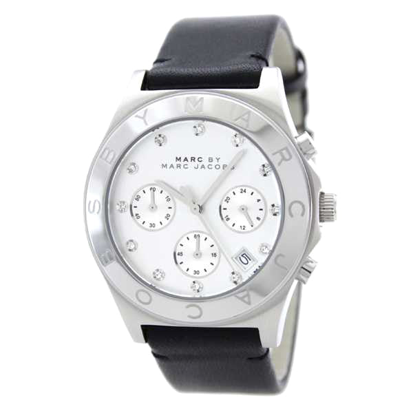 Blade Chronograph Stainless Steel White Leather Ladies Watch