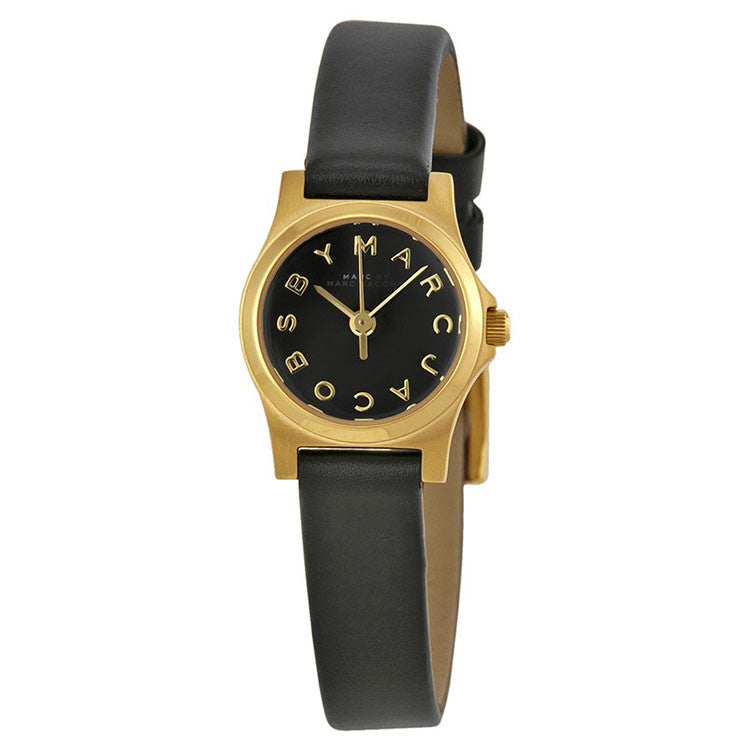 Black Dial Black Leather Ladies Watch