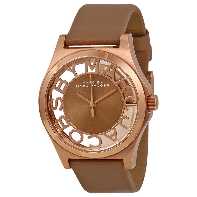 Henry Brown Cut-out Dial Rose Gold Ion-plated Ladies Watch