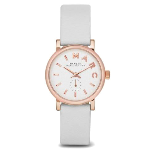 Baker White Dial White Leather Band Ladies Watch