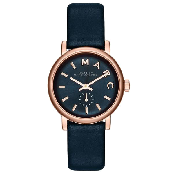 Baker Mini Navy Dial Navy Leather Ladies Watch
