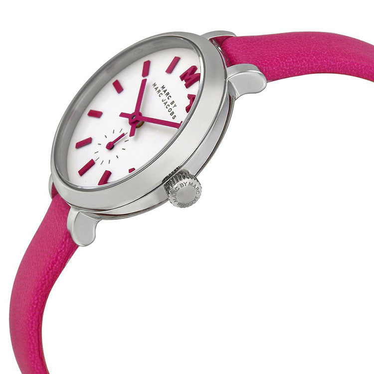Sally White Dial Hot Pink Leather Ladies Watch