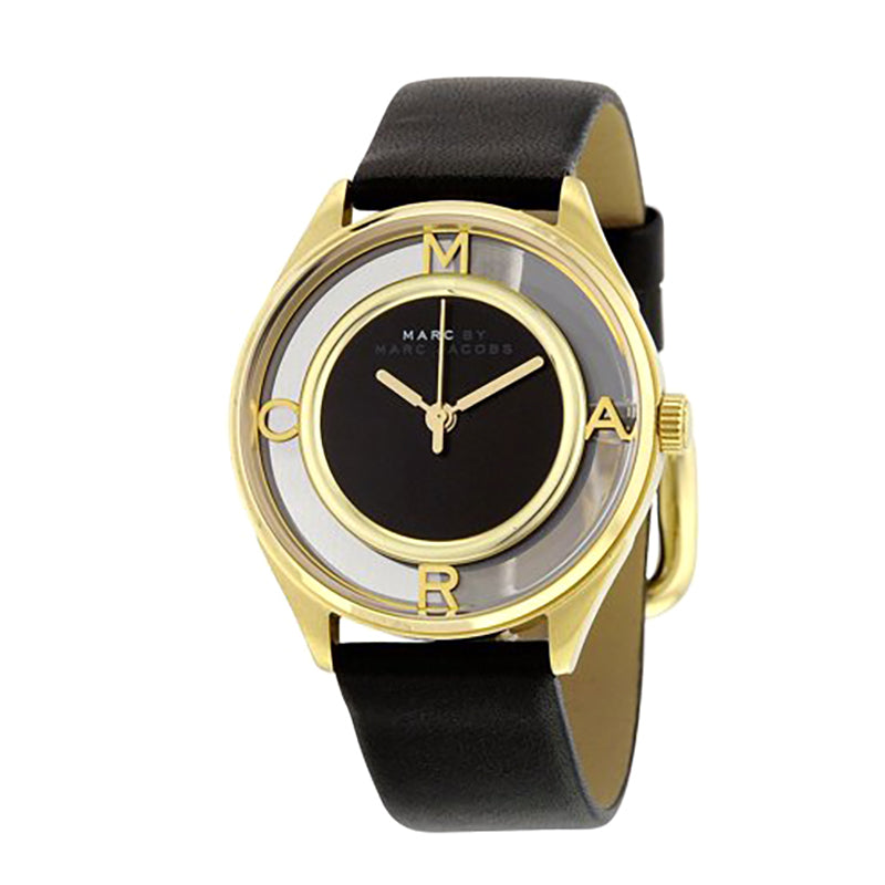 Marc By Marc Jacobs Tether Black Dial Gold Tone Case Leather Ladies Watch