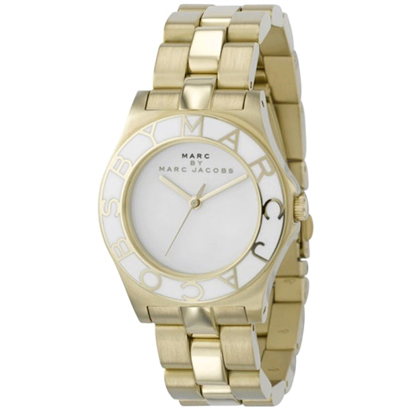 Blade White Dial Gold-Tone Stainless Steel Ladies Watch