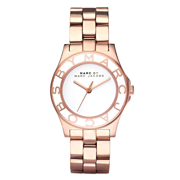 Blade White Dial Rose Gold-Tone Stainless Steel Ladies Watch