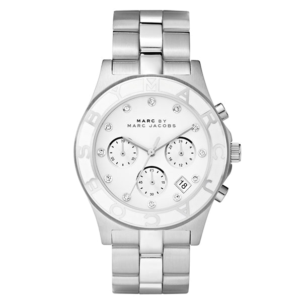 Blade Chronograph White Dial Stainless Steel Ladies Watch