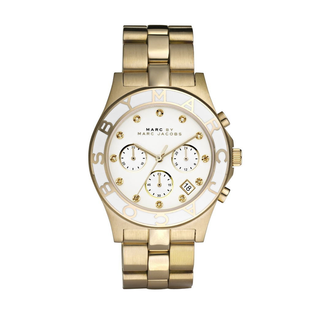 Blade Chronograph White Dial Gold-Tone Stainless Steel Ladies Watch