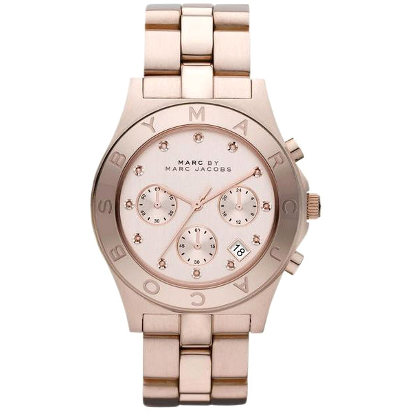 Blade Chronograph White Dial Rose Gold-Tone Stainless Steel Ladies Watch