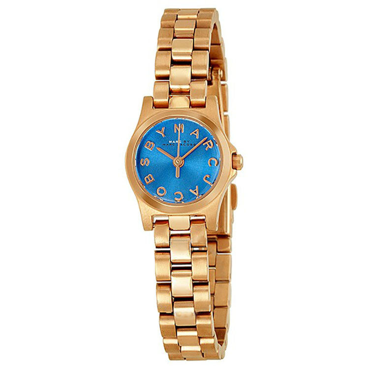 Henry Dinky Blue Dial Rose Gold-Tone Stainless Steel Ladies Watch