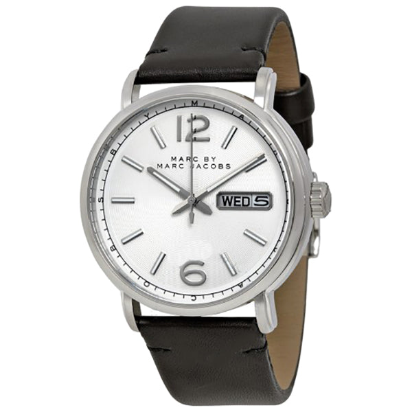 Fergus Silver Dial Black Leather Men's Watch
