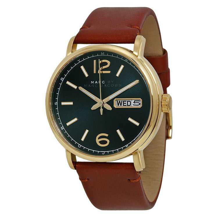 Fergus Green Dial Brown Leather Men's Watch