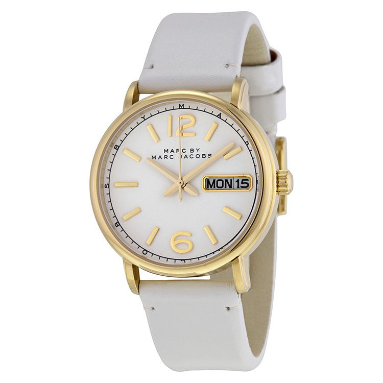 Fergus White Dial White Leather Ladies Watch