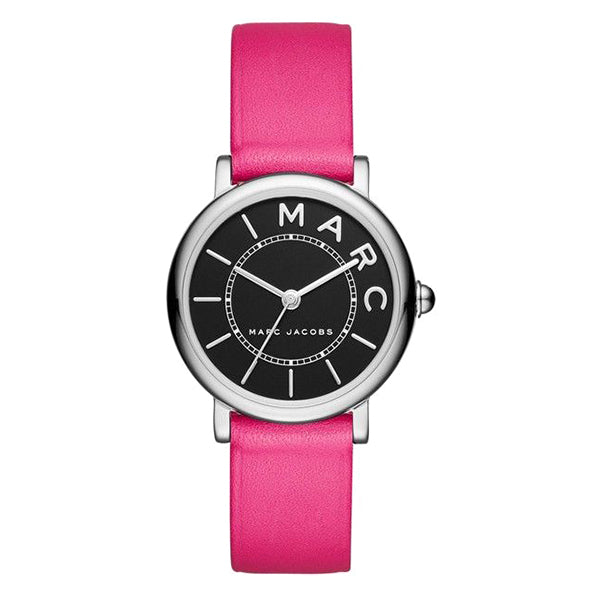 Roxy Black Dial Ladies Pink Leather Watch