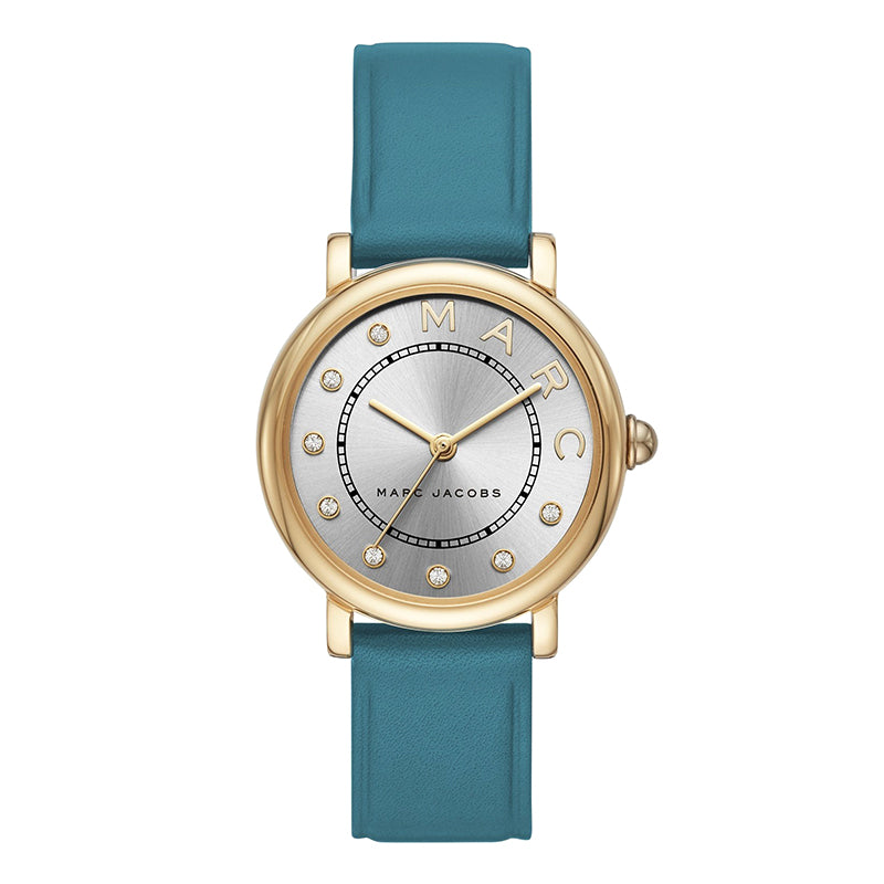 Classic Three-Hand Silver Sunray Dial with Blue Leather Strap Ladies Watch