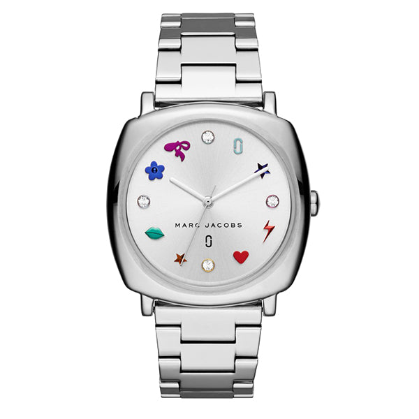 Mandy White Sunray Dial with Rainbow IP Charm on Stainless Steel Bracelet Ladies Watch