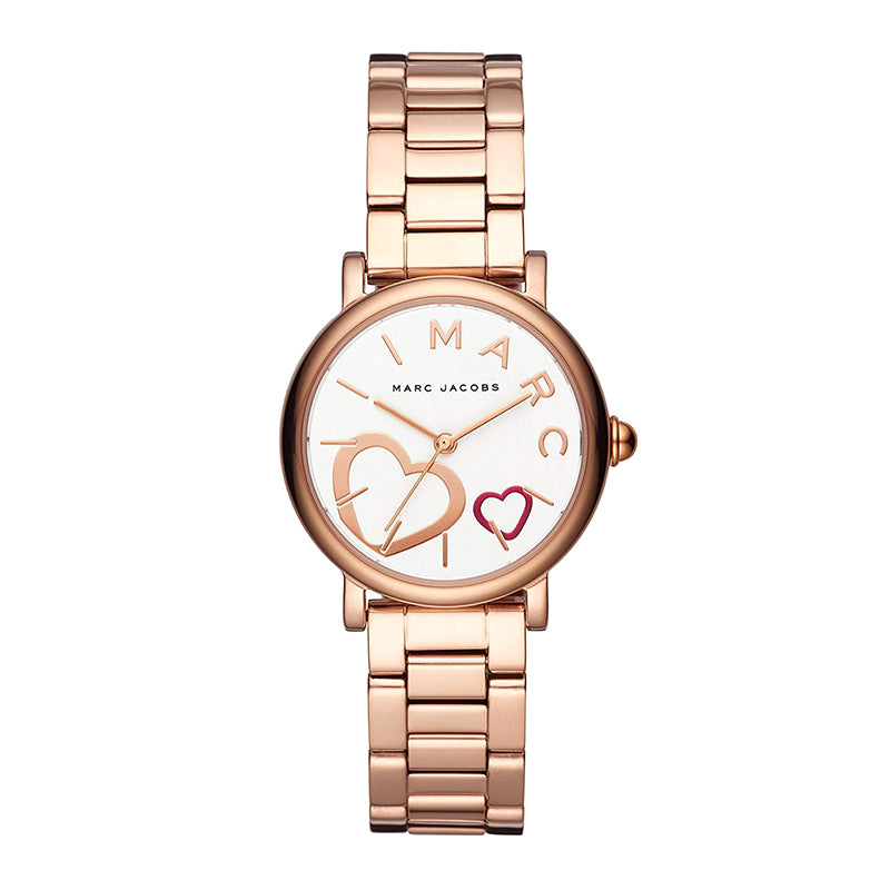 Classic White Dial Rose Gold-Tone Stainless Steel Ladies Watch