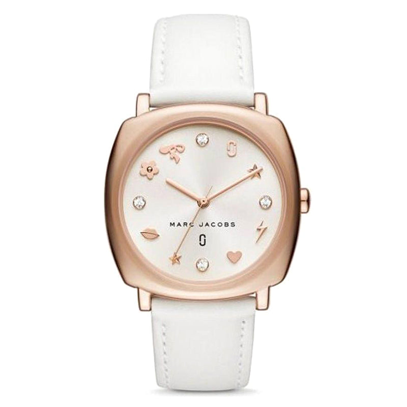 Mandy White Sunray Dial Rose Gold Tone Stainless Steel Ladies Watch