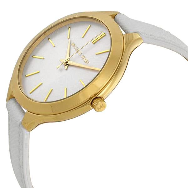 Slim Runway White Dial White Leather Ladies Watch