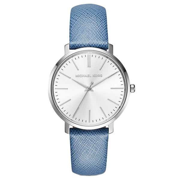 Jaryn Silver-tone Blue Leather Ladies Watch