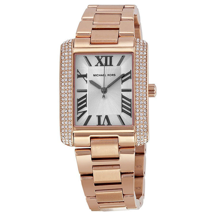 Emery White Dial Rose Gold-Tone Stainless Steel Ladies Watch