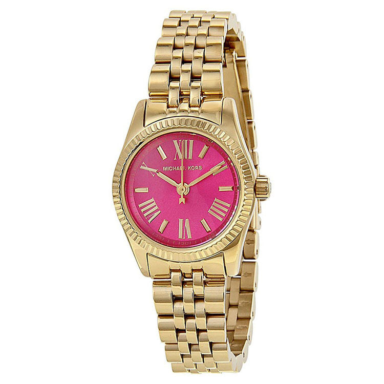 Mini Lexington Pink Dial Gold-Tone Ladies Watch