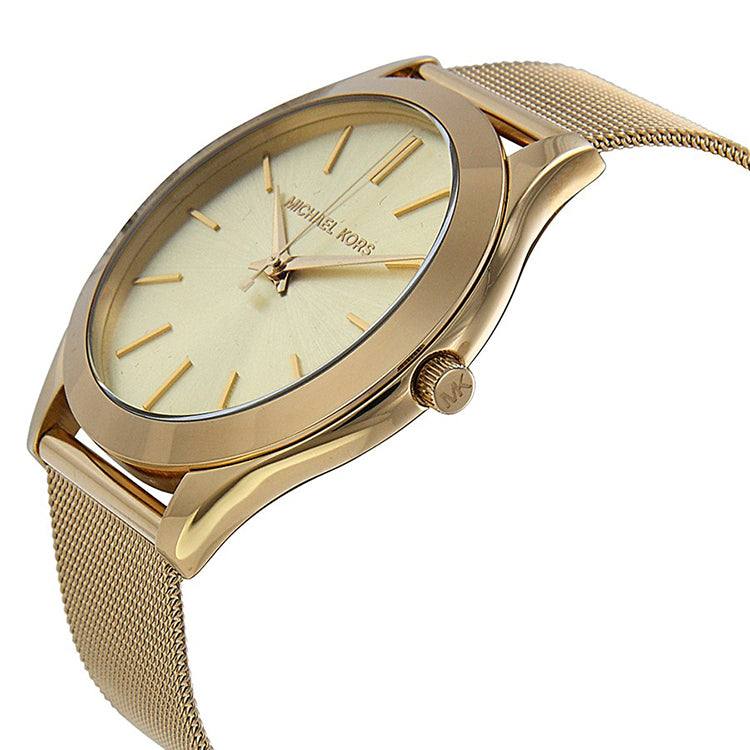 Slim Runway Champagne Dial Gold-tone Mesh Ladies Watch