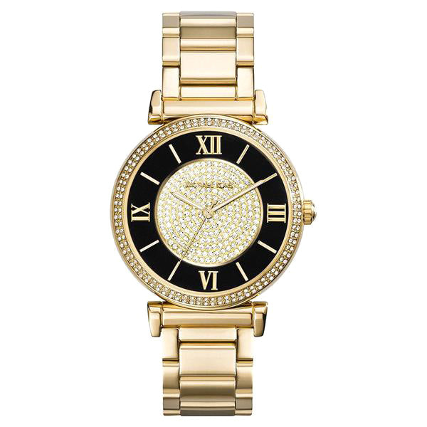 Catlin Black Dial Gold-plated Ladies Watch