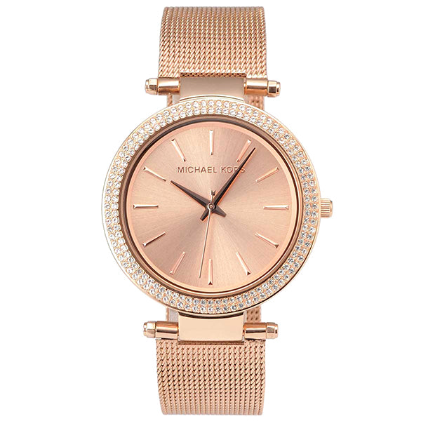 Darci Glitz Rose Gold Dial Pave Bezel Ladies Watch