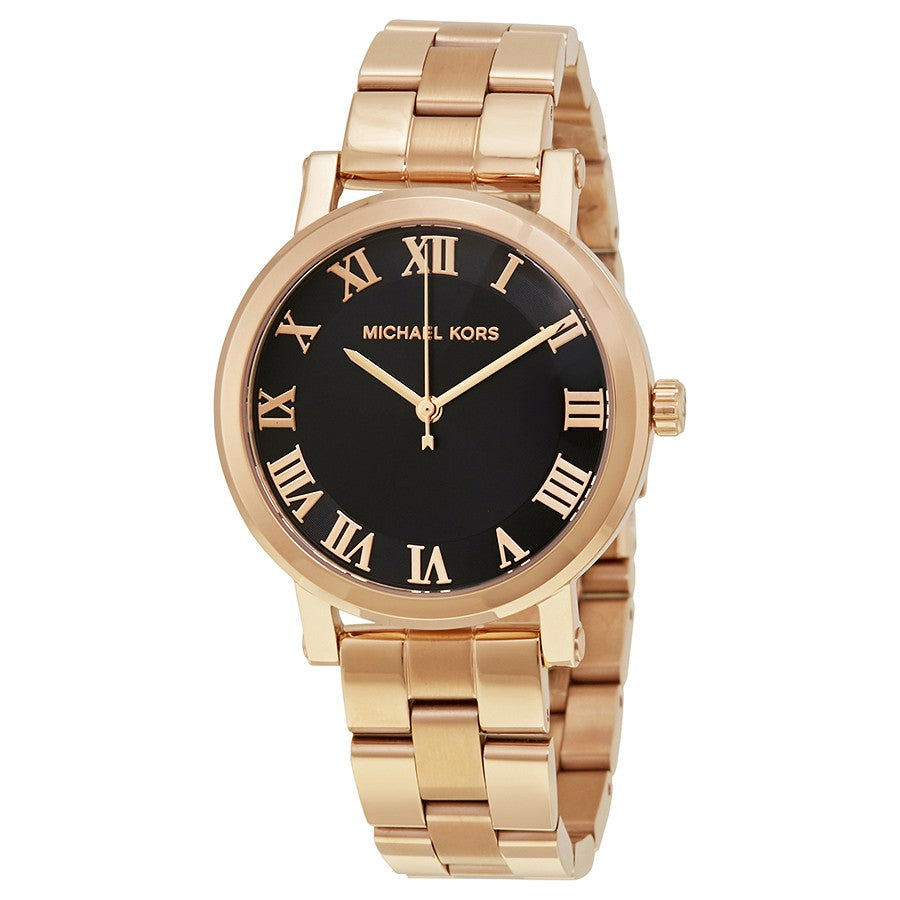 Norie Black Dial Ladies Rose Gold Tone Watch