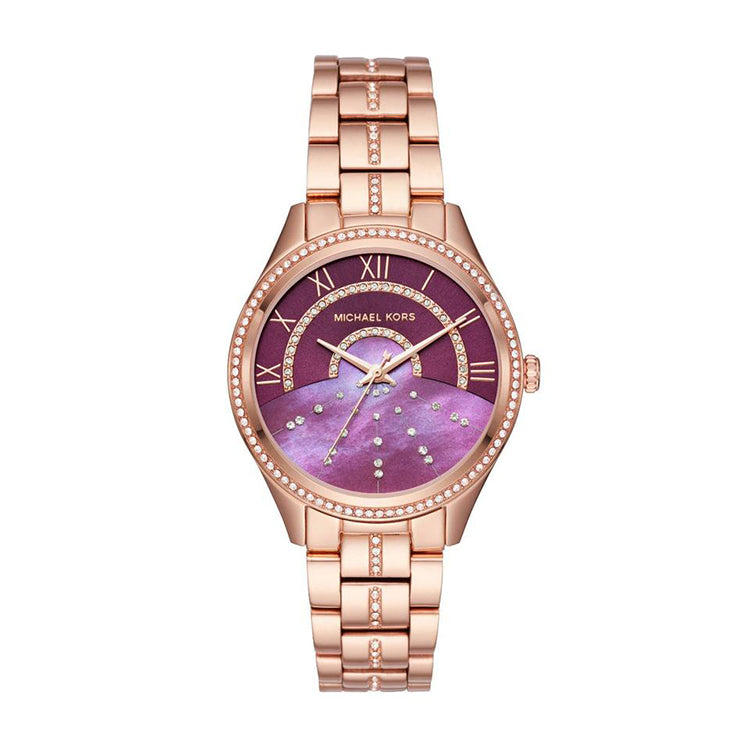 Lauryn Burgundy Sunray Dial Crystal-set Ladies Watch