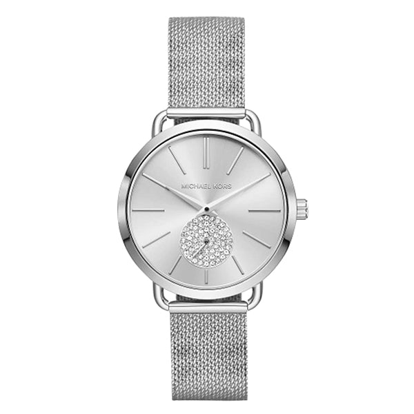 Portia Crystallized Silver Tone Dial Stainless Steel Ladies Watch